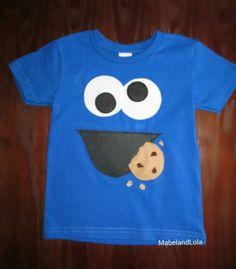 Cookie Monster Temática Traje de Fiesta de Cumpleaños Niños Niñas camiseta 1st Sesame Street