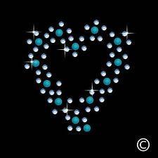 Sky Blue Heart Iron On Hotfix Diamante Motif Rhinestone Transfer