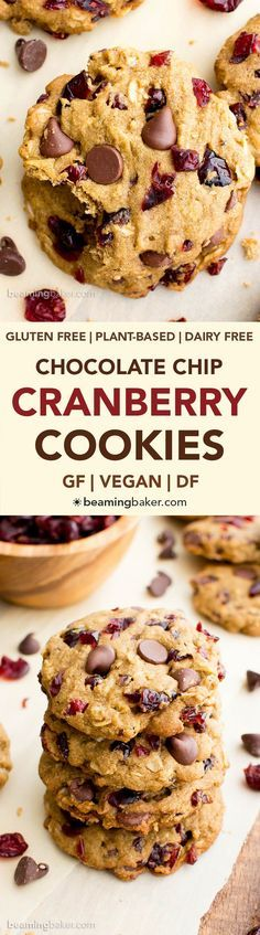 Vegan Cranberry Chocolate Chip Cookies (V, GF, DF): an easy recipe for oat flour cranberry chocolate chip cookies made with whole ingredients. #Vegan #GlutenFree #OatFlour #DairyFree | http://BeamingBaker.com