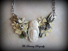 Tranquil Eastern Collage Necklace with Bone by dragonflysublime, $55.00