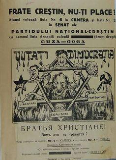 Afiș al Partidului Național-Creștin Vintage Images, Vintage Posters, Bucharest, Bambi, Time Travel, Menorah, Curiosity, Funny, Holidays