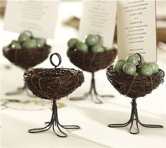 Bird Nest Place Card Holder [Pottery Barn] - LOVE these! You could make these pretty easily, too!