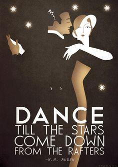 A3 Art Deco Bauhaus Poster Print, Vintage Dance Tango Themed, W.H. Auden Quote