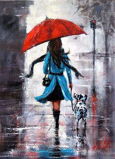 Umbrella Painting, Rain Painting, Umbrella Art, Painting Of Girl, Rainy Day Drawing, Art Sketches, Art Drawings, Digital Foto, Figurative Art