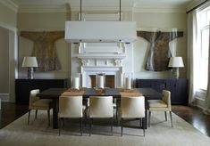 Randall Mill Residence | Musso Design Group - Atlanta, GA - Interior Design Firm  Favorite Features: Formal Dining Room Christian Liaigre Light Fixture Robert Kuo Lamps Asian Art Neutral Dining Room