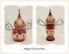 Valentine folk art birds by Johanna Parker