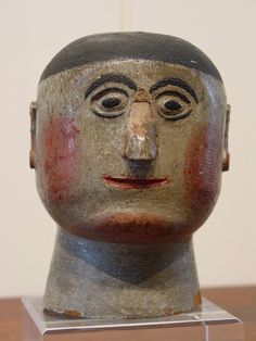 """Folk Art Head of a Man  -  H 6""""     4th quarter 19th century     Pennsylvania    Carved and painted wood"""