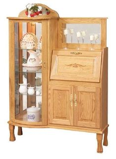 Amish Rectangular Curio Cabinet with Secretary Desk Amish country produces unique solid wood furniture you won't find anywhere else. Enjoy a curio case, secretary desk and cabinet storage in this handcrafted beauty. Shelf Furniture, Hardwood Furniture, Amish Furniture, Furniture Showroom, Home Decor Furniture, Furniture Plans, Antique Furniture, Wood Cabinet Doors, Door Shelves