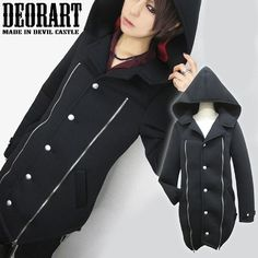 Front Zip Design Hooded Long Pea Coat / http://www.cdjapan.co.jp/products?term.shop=apparel&term.brand_id=100000102&opt.is_group_default=1&order=new