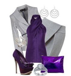"""plum and grey"" by mshyde77 ❤ liked on Polyvore"