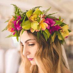 "18c031eacc FLORAL + LEI ARTIST on Instagram  ""Our beautiful Australian Bride in Our  Summer Passion Lei po o on Maui  haikumill  destinationweddings  wedding ..."