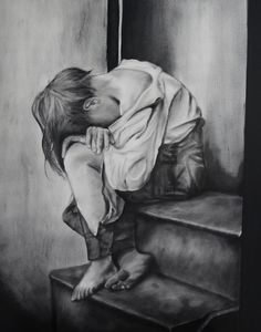 """When a grown adult is homeless, we think """"how pathetic"""" and walk by them. If we were to see a homeless child, immediately our thoughts would change. That homeless adult at one point in time used to be a child, and like every child, we all need someone to support us and make those little random acts of kindness. Sad Drawings, Pencil Art Drawings, Art Drawings Sketches, Sad Art, A Level Art, Caravaggio, Pics Art, Fantasy Art, Illustration Art"""