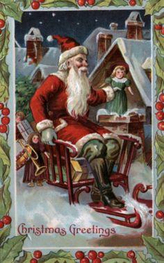 christmas greetings old noel postcard