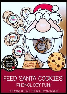 FEEDING SANTA for Speech Therapy! Holiday fun phonology! Easy prep for speech therapy. Perfect for December to use as an activity in your speech room!