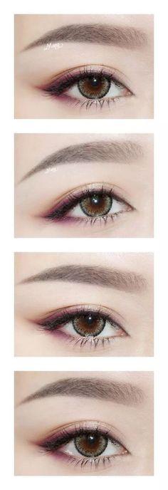 Sexy Eye Makeup, Asian Eye Makeup, Eye Makeup Tips, Makeup Eyeshadow, Makeup Hacks, Makeup Ideas, Purple Eyeshadow, Makeup Brushes, Hair Makeup