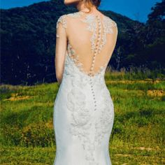 Sheer Illusion Neck line Wedding Gowns with Sleeves