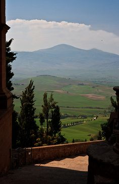 View from Pienza into Val d'Orcia and Monte Amiata