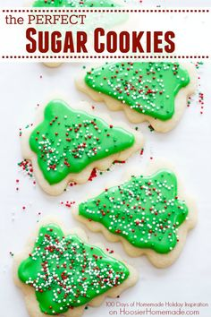 Add these Sugar Cookies Recipe to your holiday baking list! They are the PERFECT sugar cookie for cut outs! Visit our 100 Days of Homemade Holiday Inspiration for more recipes, decorating ideas, crafts, homemade gift ideas and much more! Halloween Desserts, Holiday Baking, Christmas Desserts, Christmas Baking, Edible Christmas Gifts, Christmas Sugar Cookies, Holiday Cookies, Christmas Treats, Christmas Candy