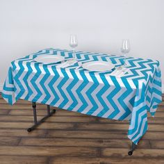 """54"""" x 72"""" Turquoise 10 Mil Thick Chevron Waterproof Tablecloth PVC Rectangle Disposable Tablecloth"""