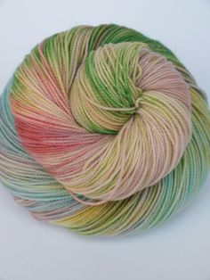 Hand Dyed Fingering/Sock Sparkle Yarn, Superwash Merino/Nylon/Stellina, Easter Grass