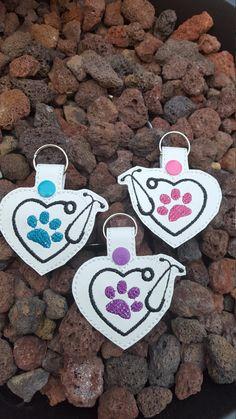 Dog Paw Print Crystal Phone Charm Keyring Zipper Vet Kennels Mum Xmas Gift NEW