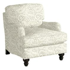 Eton Club Chair in Audrey Gray fabric by the yard