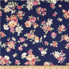 Rayon Spandex Jersey Knit Small Flowers Navy/Yellow/Pink