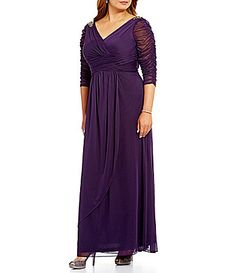 451ca3e3d9e Adrianna Papell Plus 3 4 Sleeve Beaded Faux-Wrap Gown