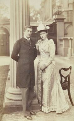 "antique-royals: ""Crown Prince Ferdinand of Romania and fiancee Princess Marie of Edinburgh "" Queen Victoria Family, Victoria Reign, Princess Victoria, Ferdinand, Michael I Of Romania, Romanian Royal Family, 1890s Fashion, Victorian Life, English Royalty"