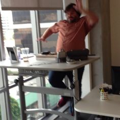 Jack Black throwing some jazz hands on treadmill desk. It burns those extra calories y'know? WorkWhileWalking.com