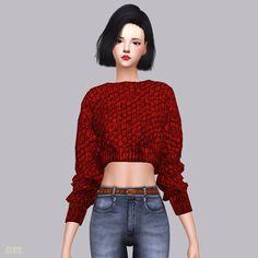 Crop Knit Sweater_크롭 니트 스웨터_여자 의상 - SIMS4 marigold