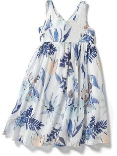 V-Back Floral Maxi Dress..  The pattern from B's halloween dress will worn for this.  In gauze.