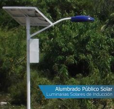 Luminarias solares de inducción para alumbrado público.