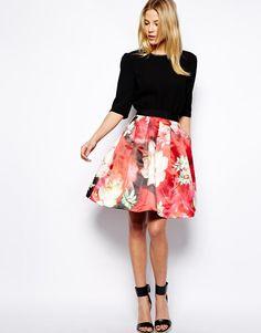 7a25e38fc4616 Shop Ted Baker Full Skirt in Rose Print at ASOS.