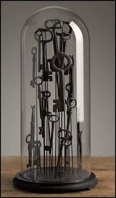 antique keys in cloche