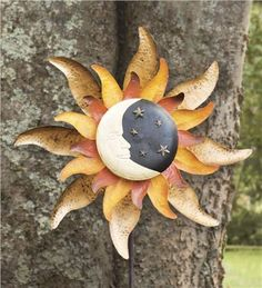 Metal Moon And Sun Garden Wind Spinner