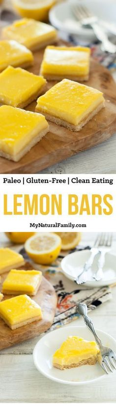 Paleo Lemon Bars Recipe {Clean Eating, Gluten-Free} – My Natural Family These Paleo Lemon Bars Recipe are so good! They have just the right amount of lemon filling and crust. These are my all-time favorite dessert! Paleo Recipes, Real Food Recipes, Cooking Recipes, Lasagna Recipes, Free Recipes, Soup Recipes, Chicken Recipes, Steak Recipes, Healthy Chicken