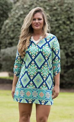 Oxford Dress $66.00  Oxford Dress is 3/4 length and a great mix of spring colors in its pattern!  Women's Fashion, New Arrivals, Spring look, Style, Spring Dress