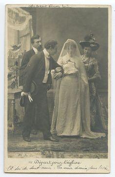 Edwardian Lady Bride Groom Marriage Wedding vintage old 1900s photo postcard a10