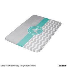 Gray Teal Chevron Bathroom Mat