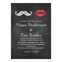 Mustache & Lips Wedding Invitation