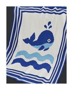 Crochet Pattern Baby Blanket Pattern Whale by PatternWorldUK Crochet Blanket Patterns, Baby Blanket Crochet, Crochet Stitches, Crochet Baby, Crochet Crafts, Crochet Projects, Whale Pattern, Manta Crochet, Kids Blankets
