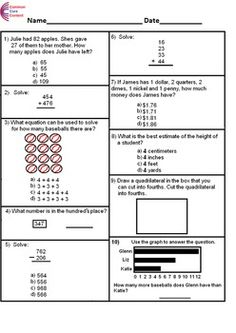 best th grade common core worksheets images  common core math  nd grade common core math assessment short form a  questions second  grade