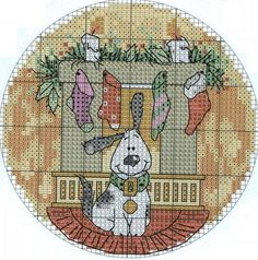 Cross-stitch Christmas Dog... no color chart available, just use the pattern chart as your color guide