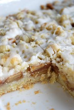 apple streusel bars; the writer suggests it without the icing, but I definitely preferred it with the icing. It was gorgeous AND delicious! :)