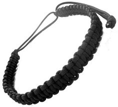 Adjustable Survival Adjustable Black 550 Braided Cobra Paracord Necklace