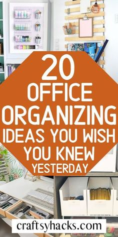 20 Office Organizing Ideas You Wish You Knew Yesterday Organize home office, increase productivity and have fun getting more work done. These office organizing ideas will hive your some inspirati