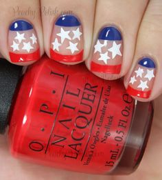 4th of July Negative Space Stars & Stripes Nail Art | Peachy Polish