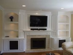 built ins recessed fireplace