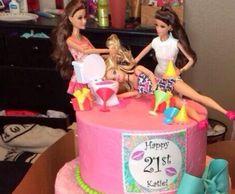 Birthday Barbie Cakes For Girls 21st Birthday Cake For Girls, Barbie Birthday Cake, 21st Bday Ideas, Happy 21st Birthday, Birthday Fun, Birthday Ideas, Drunk Barbie Cake, Bithday Cake, 21st Party